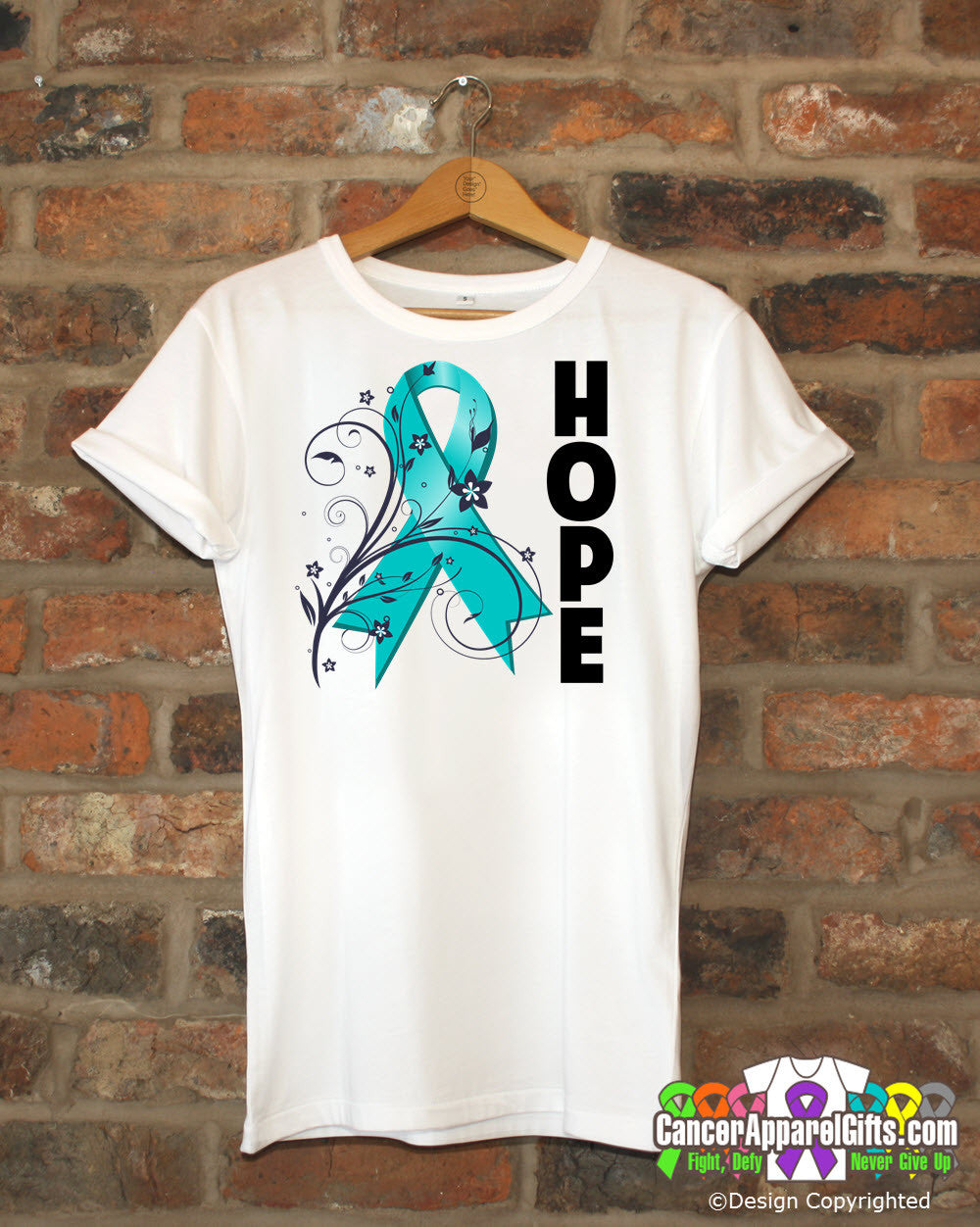 Ovarian Cancer Floral Hope Ribbon T-Shirt