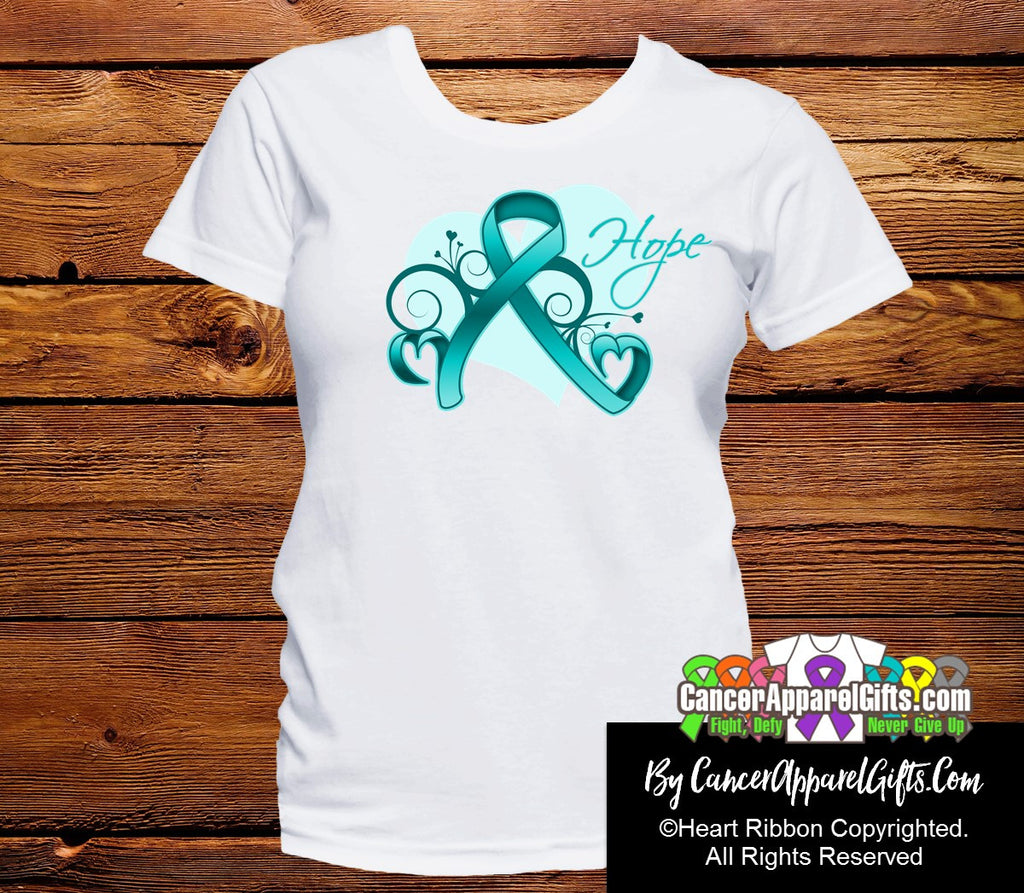 Ovarian Cancer Heart of Hope Ribbon Shirts
