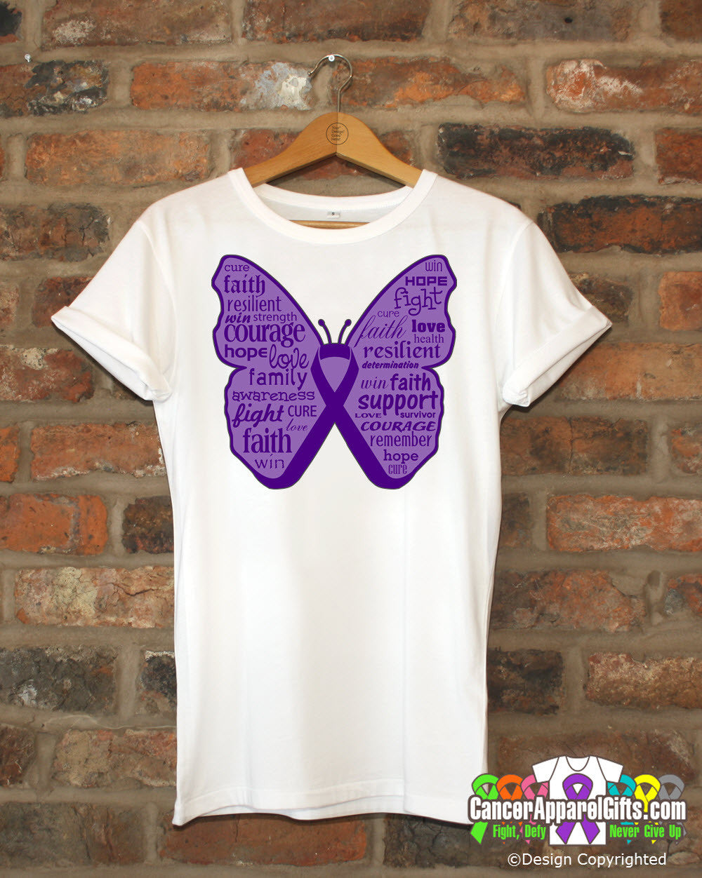 Pancreatic Cancer Butterfly Collage of Words Shirts