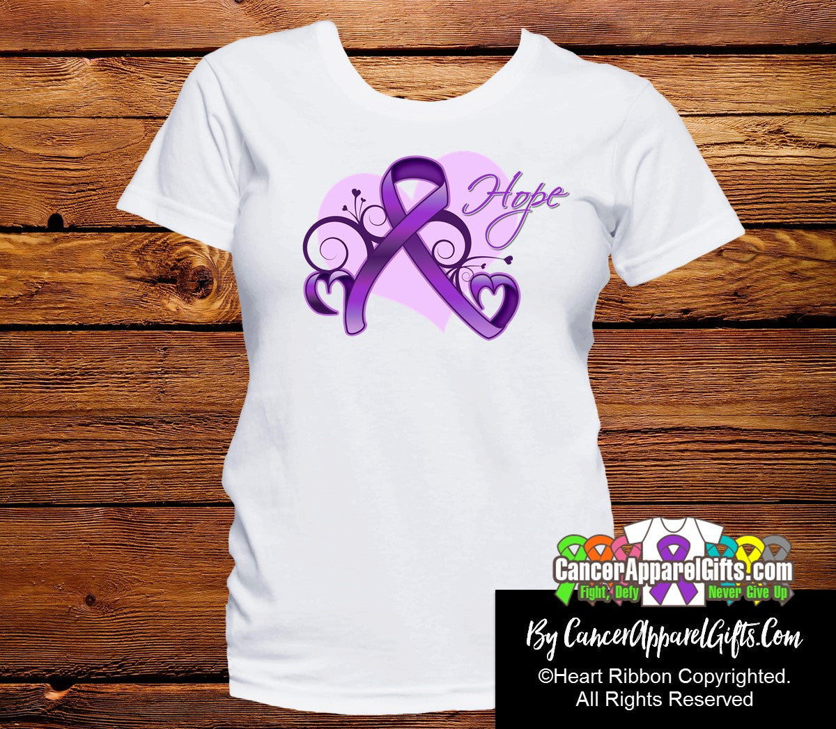 Pancreatic Cancer Heart of Hope Ribbon Shirts - Cancer Apparel and Gifts