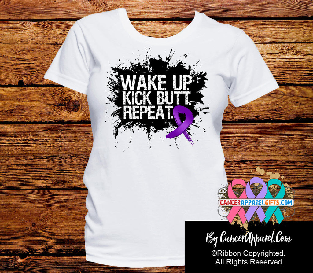 Pancreatic Cancer Shirts Wake Up Kick Butt and Repeat