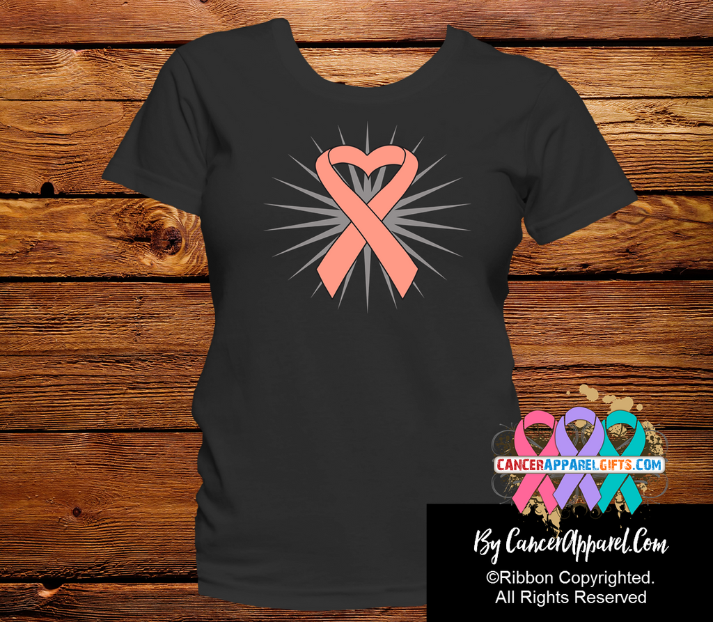 Uterine Cancer Awareness Heart Ribbon Shirts