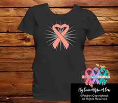 Uterine Cancder Awareness Heart Ribbon Shirts - Cancer Apparel and Gifts