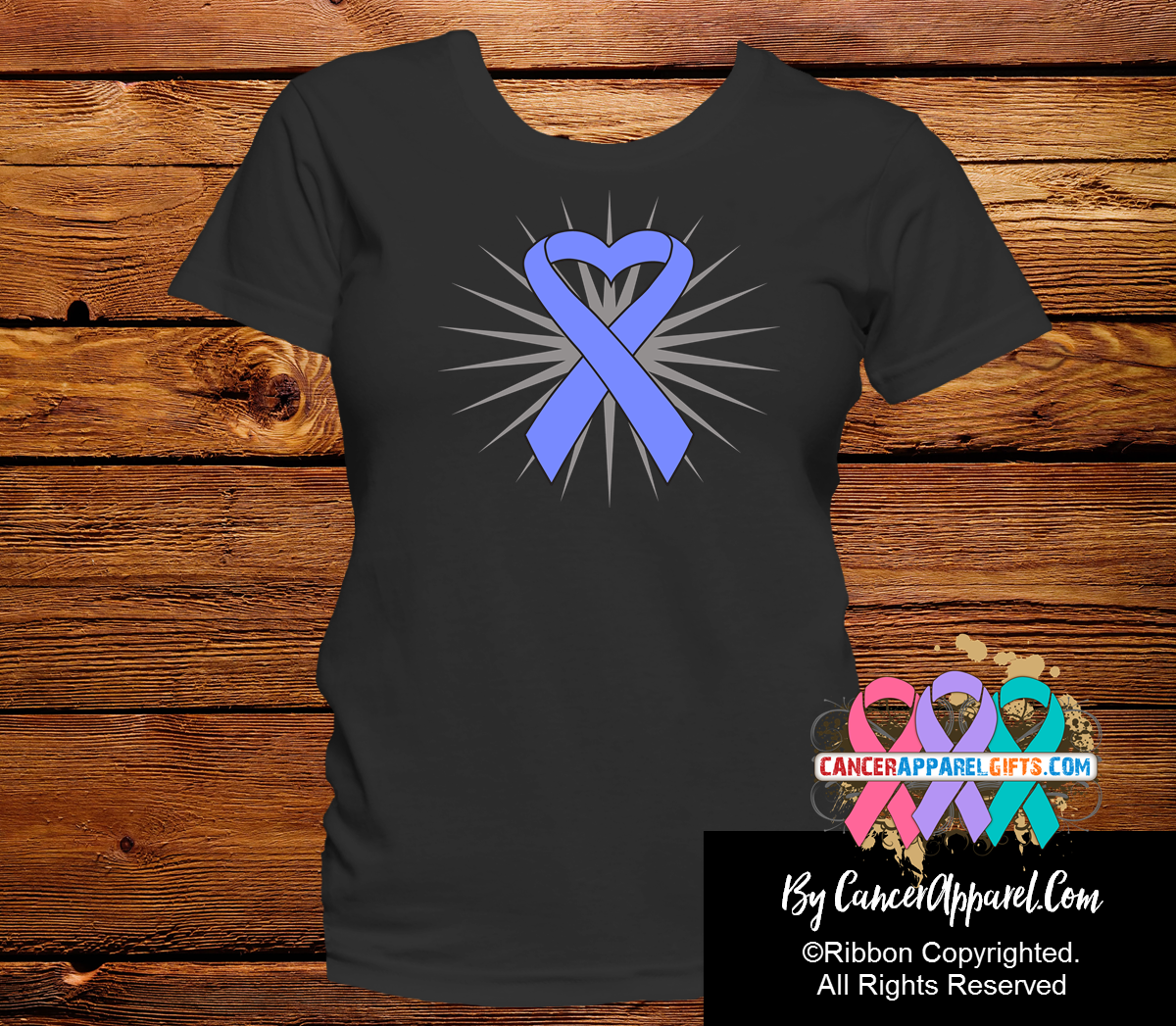 Esophageal Cancer Awareness Heart Ribbon Shirts - Cancer Apparel and Gifts