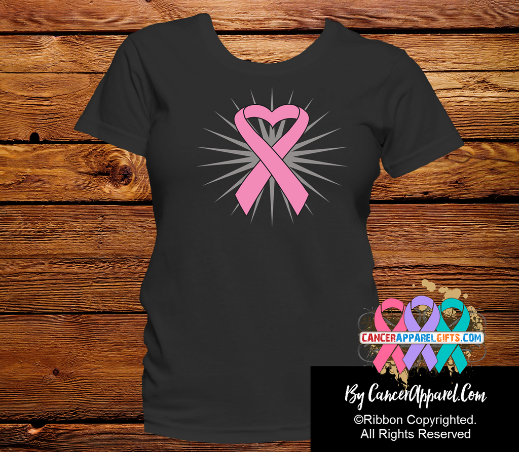 Breast Cancer Awareness Heart Ribbon Shirts