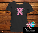Breast Cancer Awareness Heart Ribbon Shirts - Cancer Apparel and Gifts