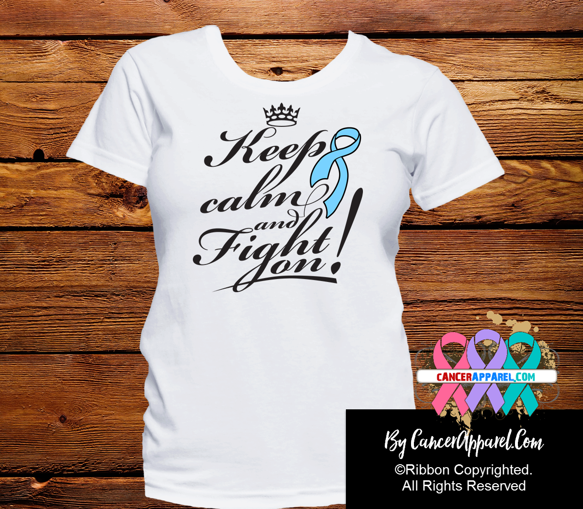 Prostate Cancer Keep Calm and Fight On Shirts - Cancer Apparel and Gifts