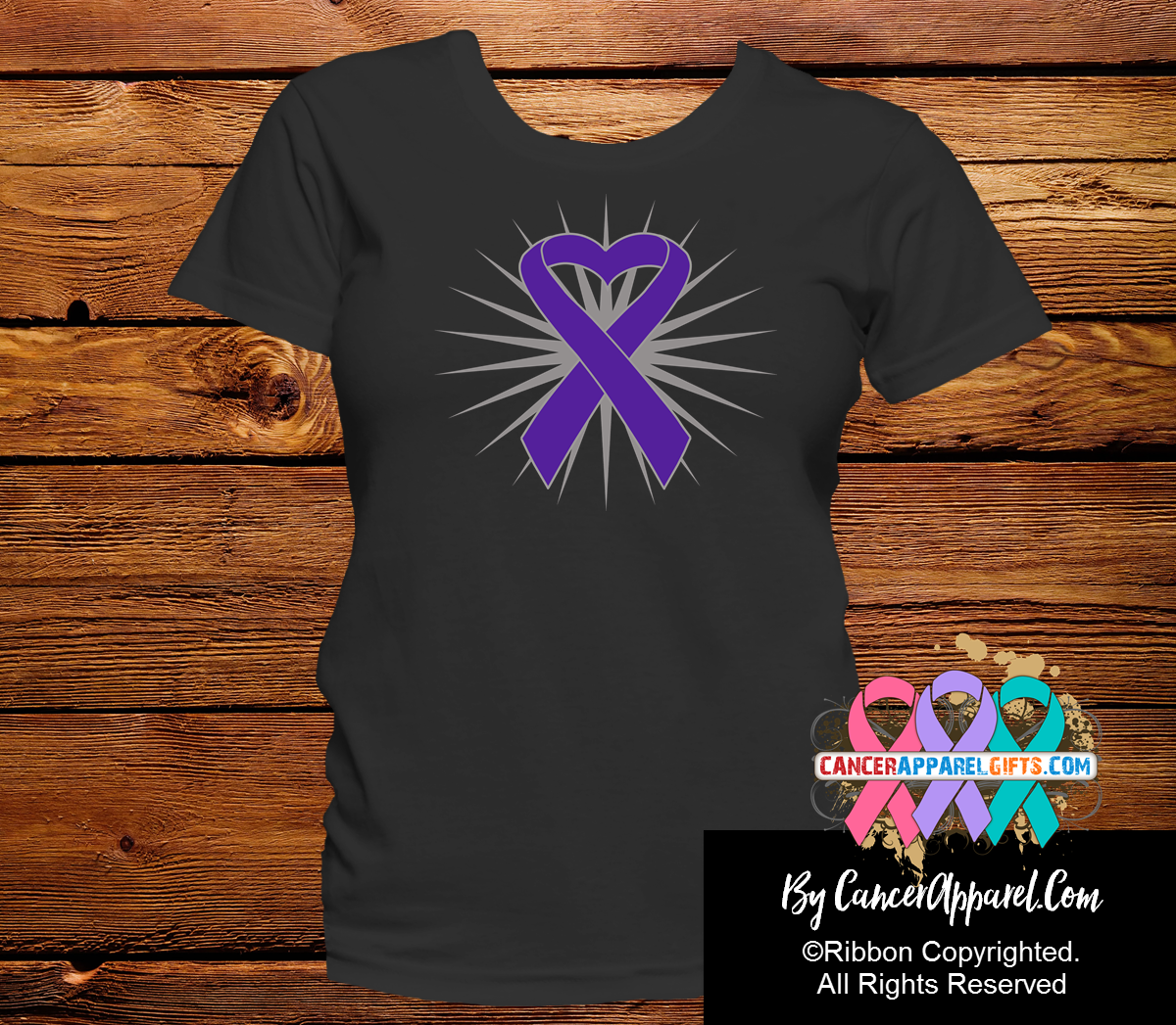 Pancreatic Cancer Awareness Heart Ribbon Shirts - Cancer Apparel and Gifts