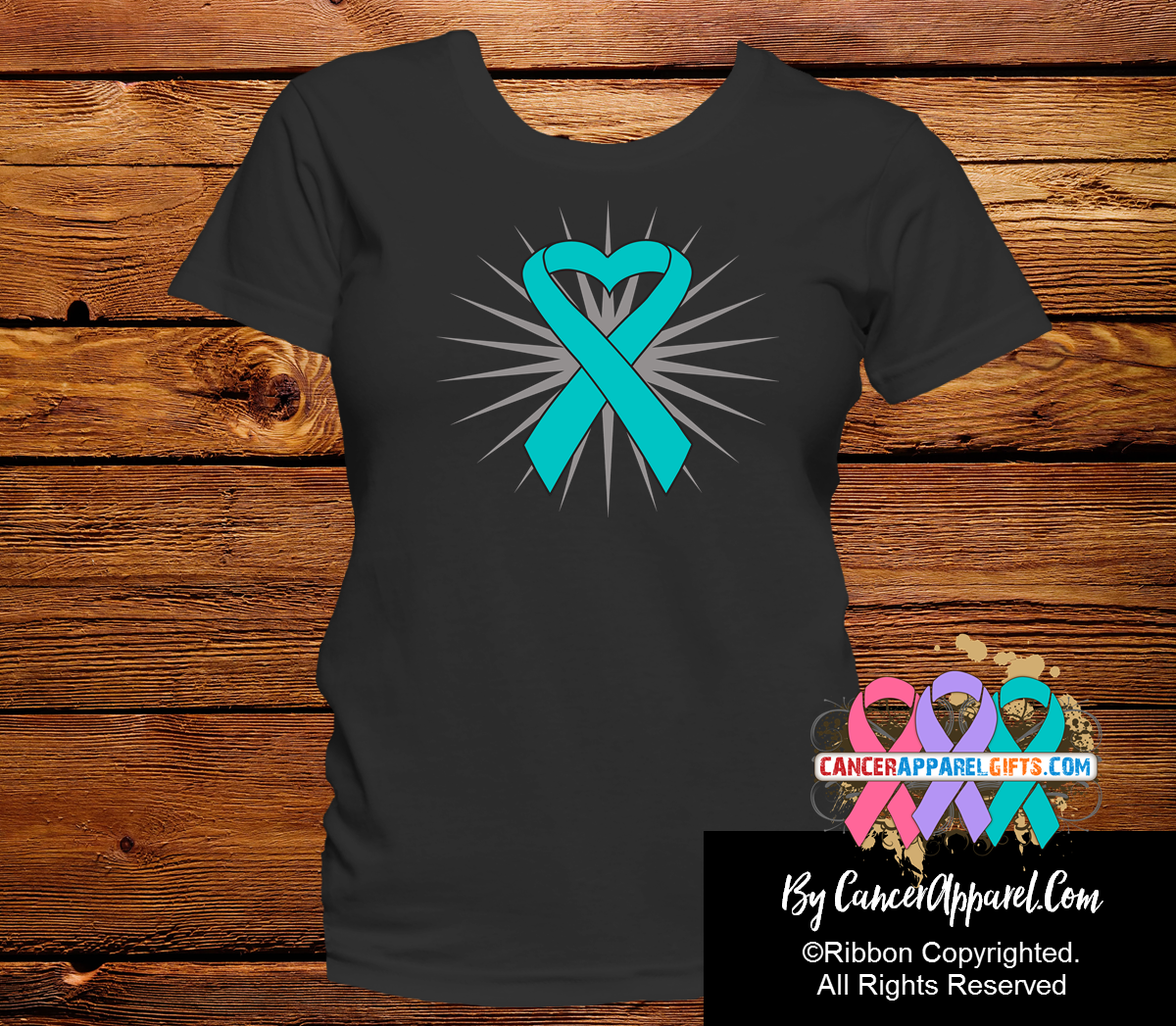 Ovarian Cancer Heart Ribbon Shirts - Cancer Apparel and Gifts