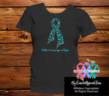 Ovarian Ribbon Faith Courage Hope Shirts - Cancer Apparel and Gifts