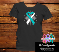Cervical Cancer Awareness Heart Ribbon Shirts - Cancer Apparel and Gifts