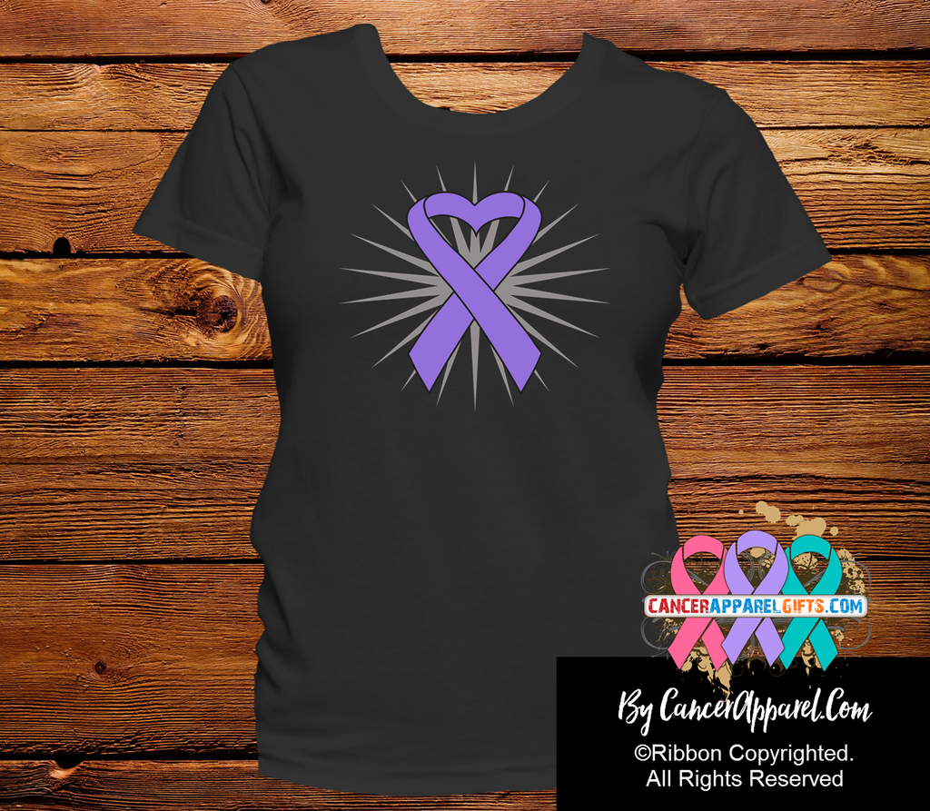 Hodgkins Lymphoma Violet Heart Ribbon Shirts