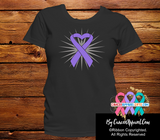 Hodgkins Lymphoma Violet Heart Ribbon Shirts - Cancer Apparel and Gifts