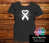 Lung Cancer Heart Ribbon Shirts - Cancer Apparel and Gifts