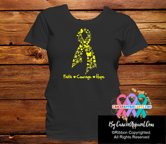 Sarcoma Awareness Faith Courage Hope Shirts - Cancer Apparel and Gifts
