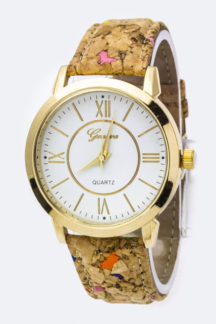 Cork Strap Roman Number Dial Watch