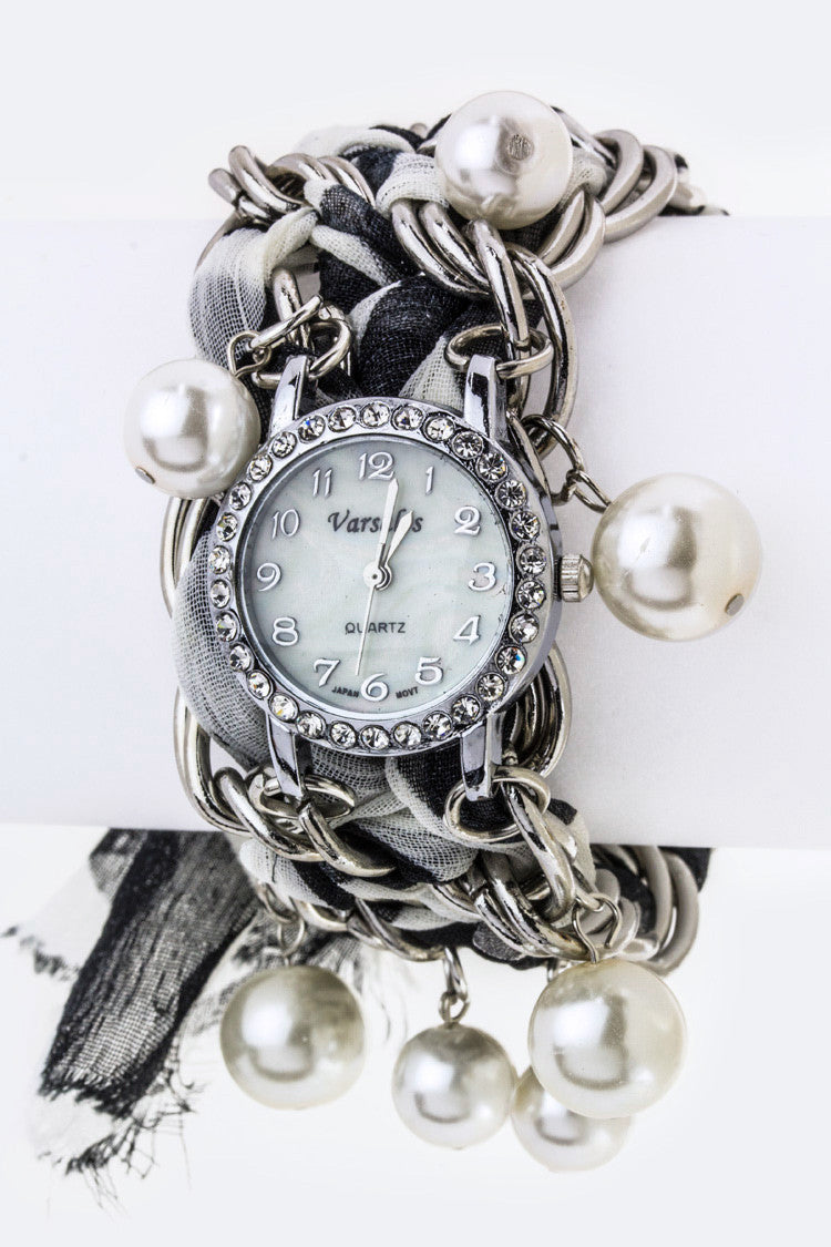 Pearls & Laced Chain Bracelet Watch