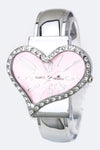 Crystal Heart Bangle Watch