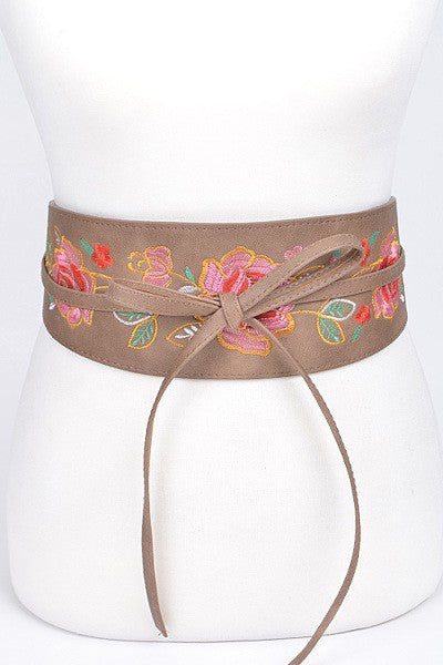 LJCPB6951 Stylish Wide Waist Floral Belt