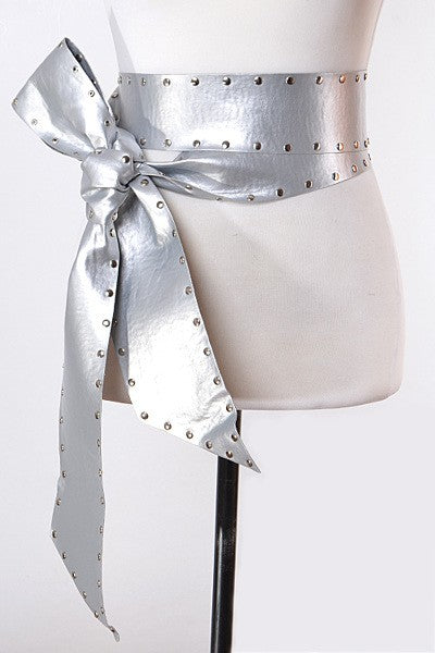 LJCPB6920 Charming Silver Wrap Studded Belt