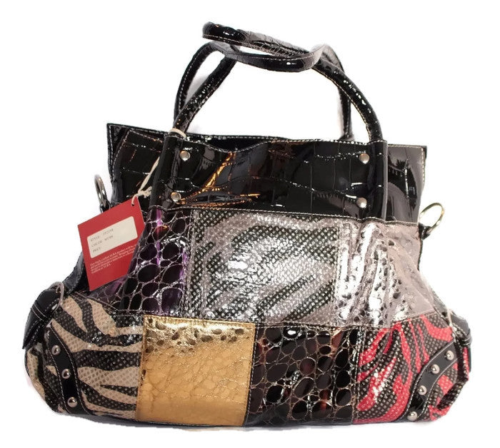 PATENT LEATHER SNAKESKIN HOBO
