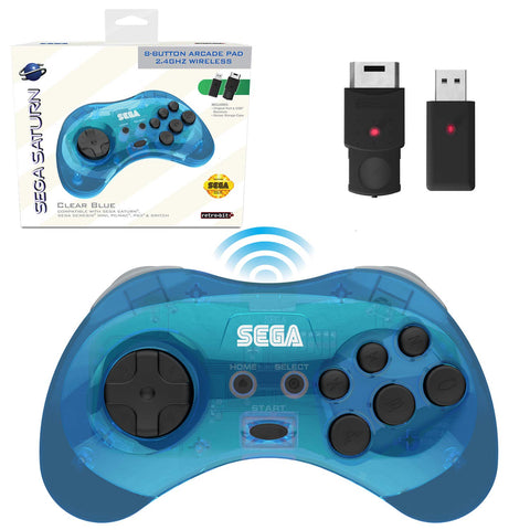 Retro-Bit Official Sega Saturn 2.4 GHz Wireless Controller 8-Button Arcade Pad for Saturn, Genesis Mini, PC/Mac - Clear Blue