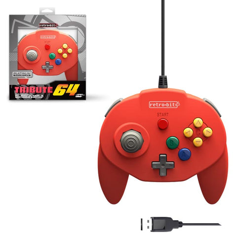 Retro-Bit Tribute Nintendo N64 USB Controller for PC, Nintendo Switch, Mac, Steam, RetroPie, Raspberry Pi - USB Port - Red