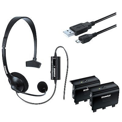 dreamGEAR Essentials Gaming Starter Kit for Xbox One Headset Batteries USB Cable