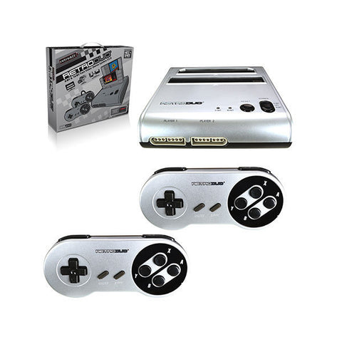 RetroDuo Nintendo NES & SNES 2in1 Twin Video Game Console System - Silver/Black