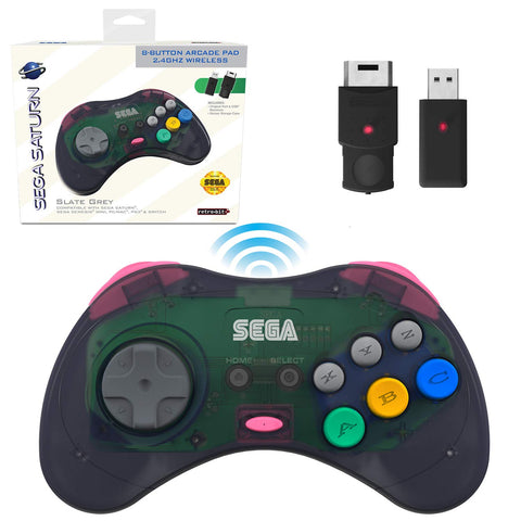 Retro-Bit Official Sega Saturn 2.4 GHz Wireless Controller 8-Button Arcade Pad for Sega Saturn, Sega Genesis Mini, Nintendo Switch, PS3, PC, Mac - Slate Gray