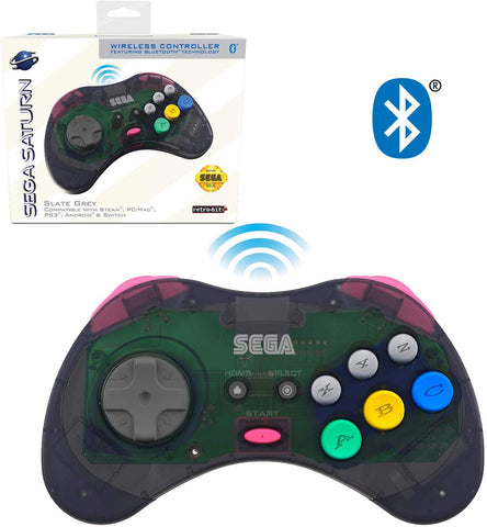 Retro-Bit Official Sega Saturn Bluetooth Controller 8-Button Arcade Pad for Nintendo Switch, PC, Mac, Steam - Slate Grey