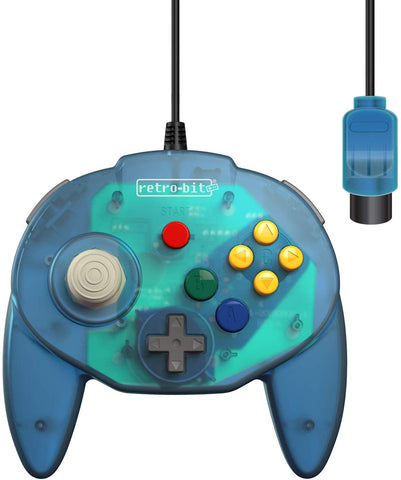Retro-Bit Tribute 64 Controller for Nintendo N64 - Original Port - Ocean Blue