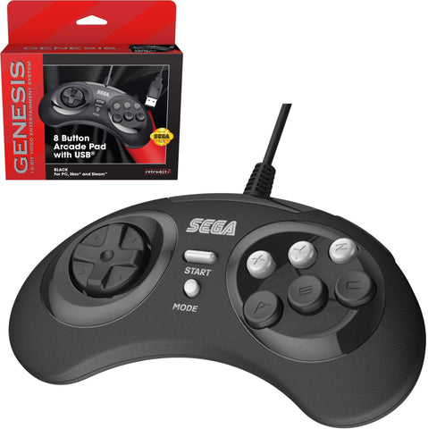 Retro-Bit Official Sega Genesis 8-Button Arcade Pad USB Controller for PC/Mac - Black