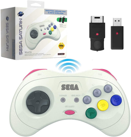 Retro-Bit Official Sega Saturn 2.4 GHz Wireless Controller 8-Button Arcade Pad for Sega Saturn, Sega Genesis Mini, Switch, PS3, PC, Mac - White