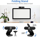 Webcam 1080P Full HD 90 Degrees USB w/ Microphone, Privacy Cover, & Tripod