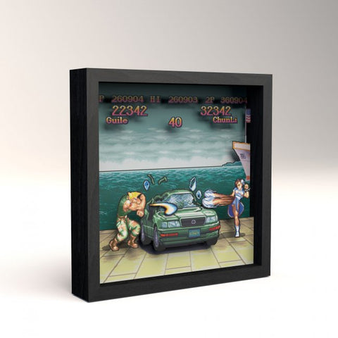 Pixel Frames Capcom Street Car Boat Scene 9x9 inches Shadow Box Art - Officially Licensed