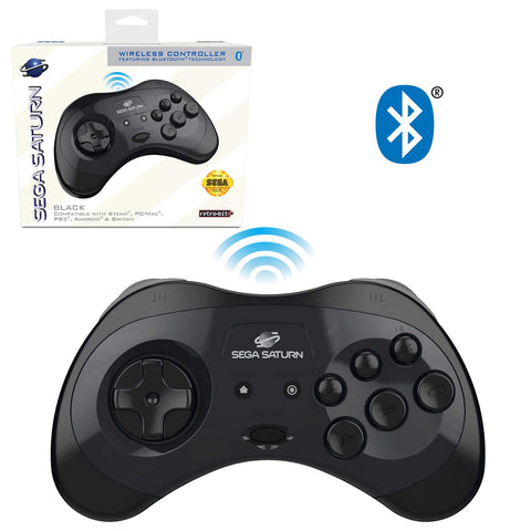 Retro-Bit Official Sega Saturn Bluetooth Controller 8-Button Arcade Pad for Nintendo Switch, PC, Mac, Steam - Black