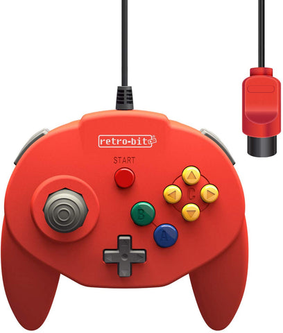 Retro-Bit Tribute 64 Controller for Nintendo N64 - Original Port - Red