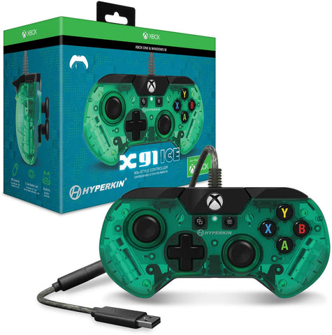 Hyperkin Official X91 Ice Wired Controller for Xbox One / Windows 10 PC - Aqua Green