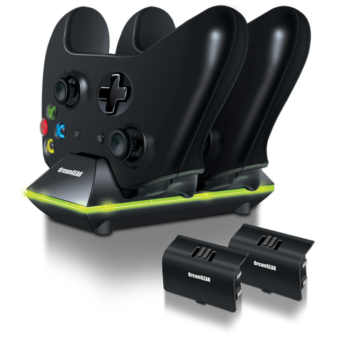 dreamGEAR Xbox One Dual Charge Dock Includes 2 Rechargeable Battery Packs