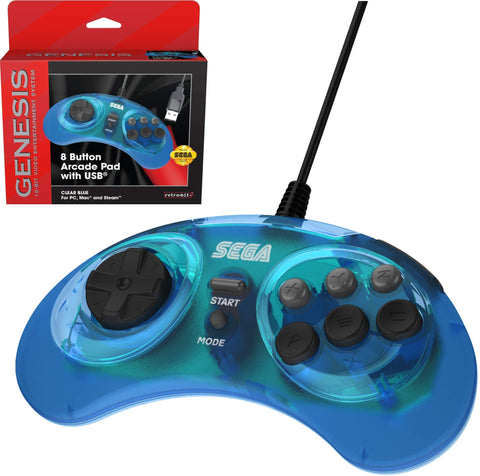 Retro-Bit Official Sega Genesis 8-Button Arcade Pad USB Controller for PC/Mac - Clear Blue