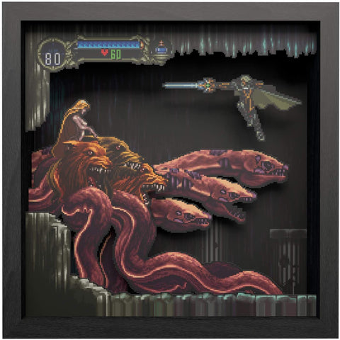 Pixel Frames Castlevania Symphony of the Night Scylla Boss Fight 9x9 Shadow Box Art - Officially Licensed by Konami
