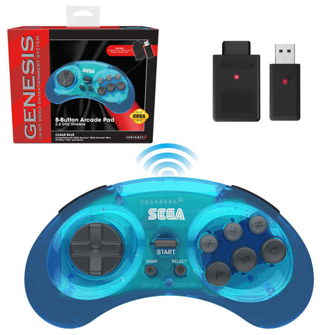 Retro-Bit Sega Genesis 2.4 GHz Wireless Controller 8-Button Arcade Pad for Sega Genesis Original/Mini, Nintendo Switch, PC, Mac - Clear Blue