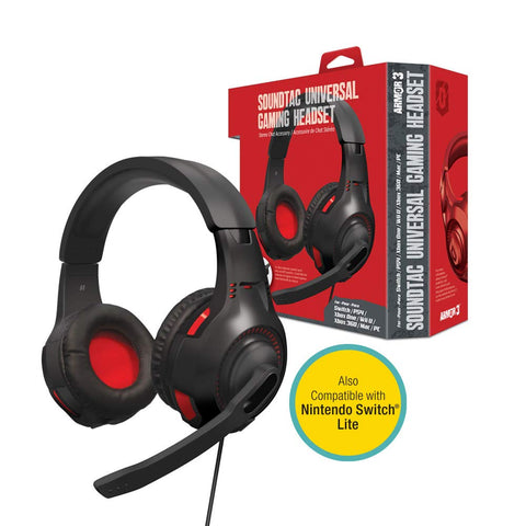 "Armor3 ""SoundTac"" Universal Gaming Headset for Nintendo Switch/Nintendo Switch Lite/PS4/ Xbox One/Wii U/PC/ Mac"