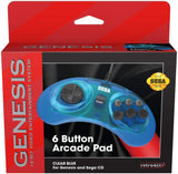 Retro-Bit Official Sega Genesis Controller 6-Button Arcade Pad - Original Port - Clear Blue