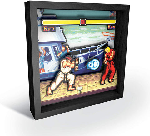 Pixel Frames Capcom Street Fighter Boat Scene 9x9 inches Shadow Box Art - Officially Licensed