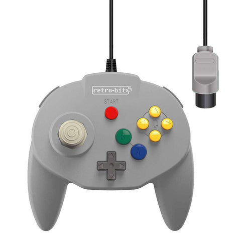 Retro-Bit Tribute 64 Wired Controller for Nintendo N64 - Original Port - Classic Gray