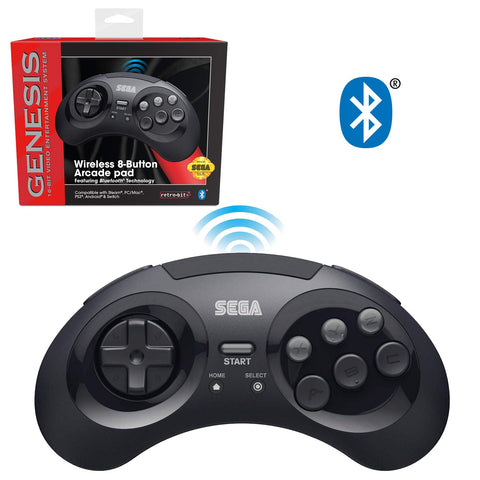 Retro-Bit Official Sega Genesis Bluetooth Controller 8-Button Arcade Pad for Nintendo Switch, Android, PC, Mac, Steam - Black