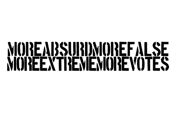 "2016, More Absurd More False More Extreme More Votes, ink on paper, new media study for oil painting, intended as a large-scale oil, 54"" x 100"", 137.16 x 254 cm, ADW038"