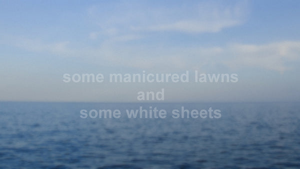"2017, ""Some Manicured Lawns And Some White Sheets,"" New Genres, new media text over appropriated photograph, 30 x 40 in, 76.2 x 101.6 cm, ADW096"